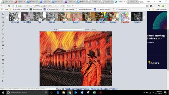 reporter flames art effect